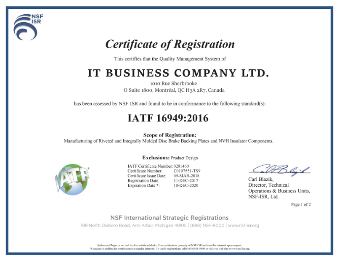 сертификат инкорпорации IT BUSINESS COMPANY LTD